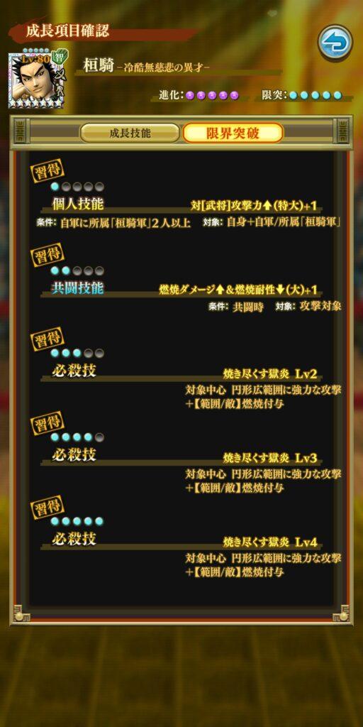 ☆7桓騎成長技能
